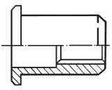 Заклепка резьбовая полнопроходная цилиндрическая со стандартным бортиком, без насечки ITT