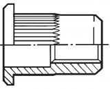 Заклепка резьбовая полнопроходная цилиндрическая со стандартным бортиком, с насечкой ITTG